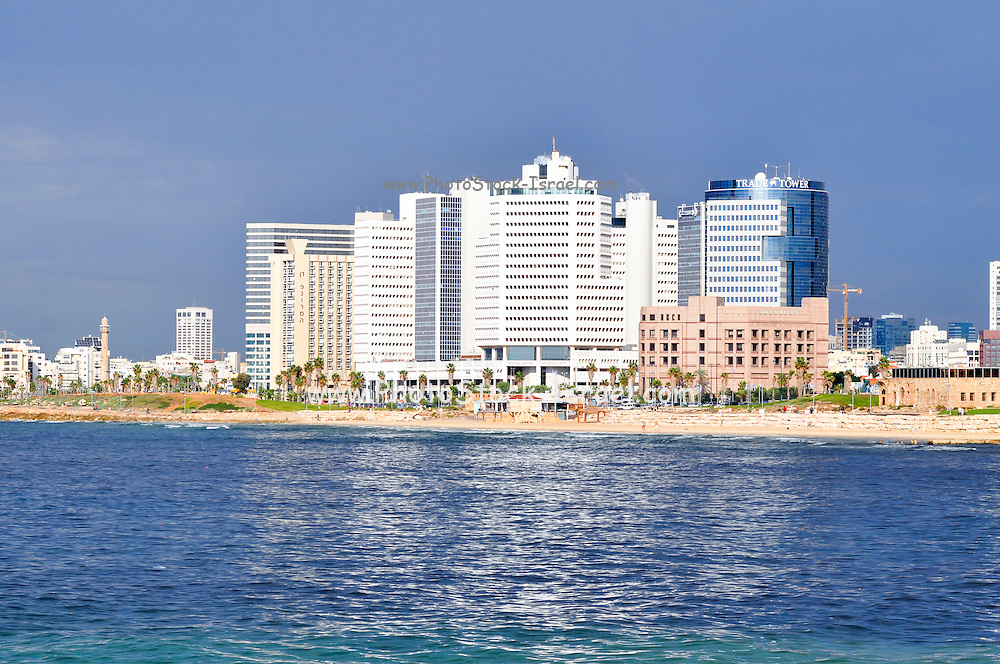 Israel, Tel Aviv, cityscape and coastline as seen from west the Mediterranean sea in the foreground