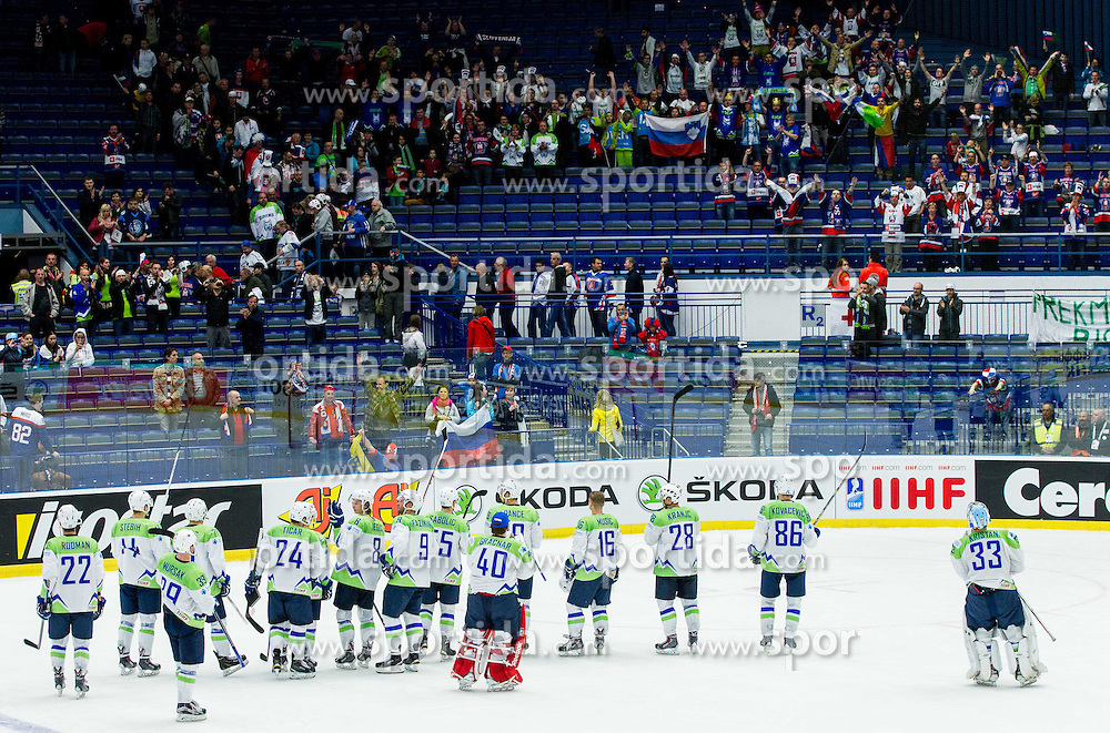Players of Slovenia after the Ice Hockey match between Belarus and Slovenia at Day 2 in Group B of 2015 IIHF World Championship, on May 2, 2015 in CEZ Arena, Ostrava, Czech Republic. Photo by Vid Ponikvar / Sportida