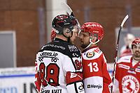 2020-03-07   Ljungby, Sverige: Bodens HF (88) Per Savilahti-Nagander och Troja-Ljungby (13) Tobias Törnkvist i en diskussion under matchen i Hockeyettan mellan IF Troja/Ljungby och Bodens HF i Ljungby Arena ( Foto av: Fredrik Sten   Swe Press Photo )<br /> <br /> Nyckelord: Ljungby, Ishockey, Hockeyettan, Ljungby Arena, IF Troja/Ljungby, Bodens HF, fstb200307, playoff, kval