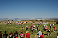 The Lee Vining Tigers take on the Round Mountain Knights at Lee Vining High School with Mono Lake as a backdrop on September3, 2011. Round Mountain won 50-8.
