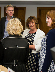 Pictured: Richard Lewis Culture and Sport Convenor Edinburgh Counci;, Ms Hyslop chat to Evelyn Kilmurray, Library and information manager. <br /> Culture Secretary Fiona Hyslop MSP visited Wester Hailes Library in Edinburgh today to meet primary-school pupils and Edinburgh City Council officials  to announce libraries support package<br /> <br /> Ger Harley | EEm 7 September 2016