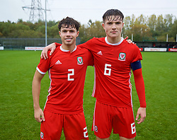 NEWPORT, WALES - Monday, October 14, 2019: Wales' Liverpool duo Neco Williams (L) and Morgan Boyes during an Under-19's International Friendly match between Wales and Austria at Dragon Park. Wales won 2-0. (Pic by David Rawcliffe/Propaganda)