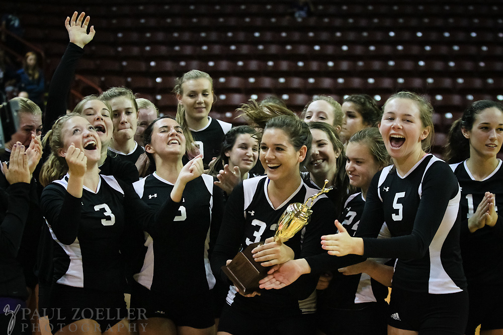 Ashley Hall recieves their trophy during the SCISA volleyball championship Monday, Oct. 22, 2012 in Charleston at the College of Charleston TD Arena. Paul Zoeller/Special to the Post and Courier