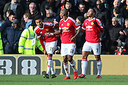 Memphis Depay of Manchester United celebrates to the sky after his opening goal during the Barclays Premier League match between Watford and Manchester United at Vicarage Road, Watford, England on 21 November 2015. Photo by Phil Duncan.