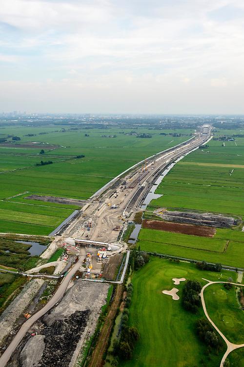 Nederland, Zuid-Holland, Midden-Delfland, 28-09-2014; aanleg A4 Midden-Delfland door Polder Vockestaert. Rotterdam, Vlaardingen en Schiedam aan de horizon.<br /> Construction extension A4 motorway through the polder Vockestaert, between Delft and Rotterdam. <br /> luchtfoto (toeslag op standard tarieven);<br /> aerial photo (additional fee required);<br /> copyright foto/photo Siebe Swart