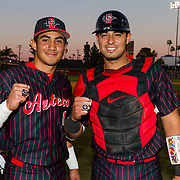 16 February 2018: San Diego State baseball opened up the season against UCSB at Tony Gwynn Stadium. Prior to the game the team was given their mountain west championship rings. The Aztecs beat the Gauchos 9-1. <br /> More game action at sdsuaztecphotos.com