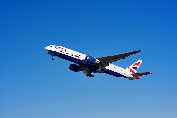 British Airways passenger flight departing from Houston's Intercontinental Airport