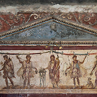 Fresco of Greek Gods at Thermopolium in Pompeii, Italy <br />