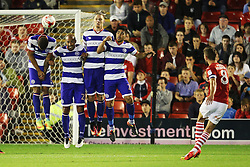 Conor Hourihane of Barnsley scores the equalising goal from a free kick to make it 2-2 - Mandatory by-line: Matt McNulty/JMP - 17/08/2016 - FOOTBALL - Oakwell Stadium - Barnsley, England - Barnsley v Queens Park Rangers - Sky Bet Championship