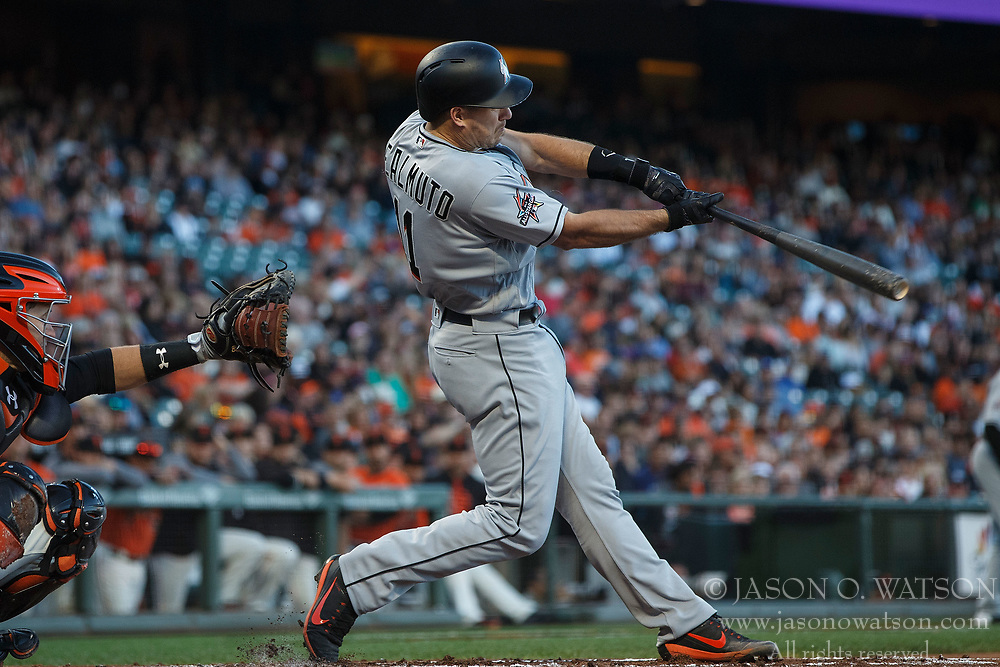 SAN FRANCISCO, CA - JULY 07: J.T. Realmuto #11 of the Miami Marlins at bat against the San Francisco Giants during the first inning at AT&T Park on July 7, 2017 in San Francisco, California. The Miami Marlins defeated the San Francisco Giants 6-1. (Photo by Jason O. Watson/Getty Images) *** Local Caption *** J.T. Realmuto