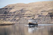An Un-Cruise Adventures ship, the S.S. Legacy, cruises along the Snake River.
