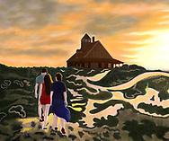 A family walks across sand dunes towards a summer beach house during sunset.