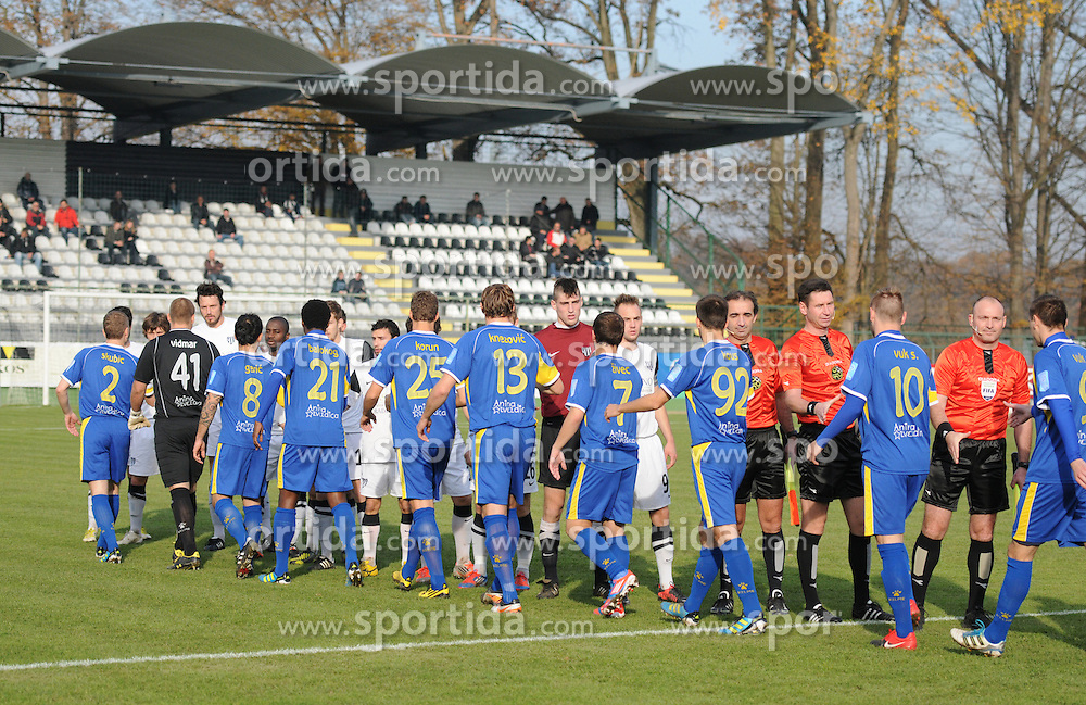 Players of Mura and Domzale before football match between NK Mura 05 and Domzale in 18th Round of PrvaLiga NZS 2012/13 on November 11, 2012 in Fazanerija, Murska Sobota, Slovenia. (Photo By Ales Cipot / Sportida)
