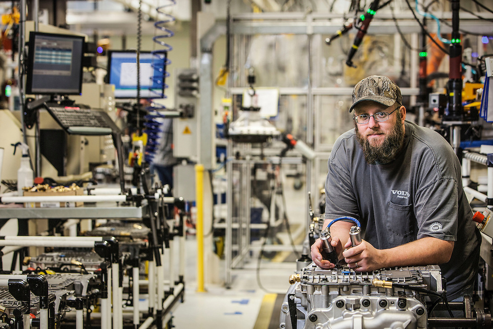 technician on volvo truck assembly line, hagerstown maryland