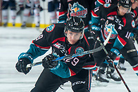 KELOWNA, CANADA - SEPTEMBER 22:  Nolan Foote #29 of the Kelowna Rockets warms up with a shot on net against the Kamloops Blazers on September 22, 2018 at Prospera Place in Kelowna, British Columbia, Canada.  (Photo by Marissa Baecker/Shoot the Breeze)  *** Local Caption ***