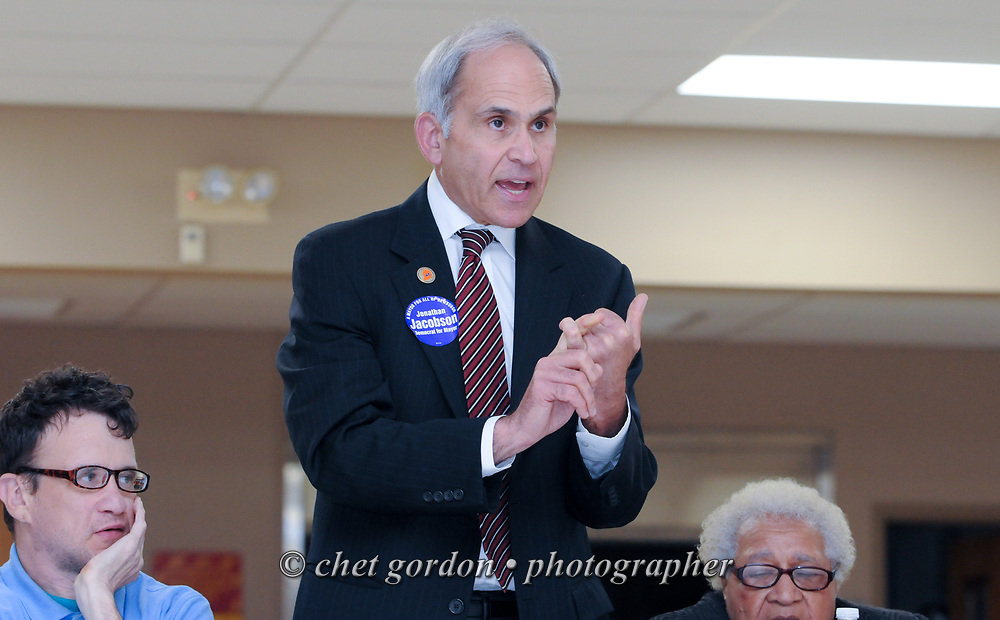 Newburgh Democratic Committee Chairman and Newburgh Mayoral candidate Jonathan Jacobson speaks during a meeting of the Newburgh Democratic Committee in Newburgh, NY on Tuesday, June 2, 2015. Mayoral candidates Jacobson and Newburgh City Councilwoman Gay Lee were to make their formal announcements for candidacy in the upcoming mayoral race of Orange County's largest city, but the committee held up the formal announcements. Jacobson also stepped down as the Chairman of the Newburgh Democratic Committee during the meeting.  © Chet Gordon • Photographer
