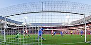 ROTTERDAM, Feyenoord - FC Twente, voetbal, Eredivisie seizoen 2015-2016, 22-11-2015, Stadion de Kuip, Feyenoord speler Simon Gustafson (3L) scoort de 2-0, FC Twente keeper Joel Drommel (2L).