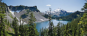 Iceberg Lake and Mount Baker (10,781 feet), Mount Baker Wilderness, North Cascades mountains, Washington. Panorama stitched from 3 images.