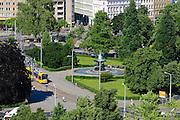 Neustadt mit Albertplatz, Dresden, Sachsen, Deutschland.|.Neustadt with Albert Square, Dresden, Germany