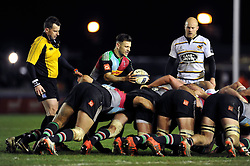 Danny Care of Harlequins looks to put the ball into a scrum - Photo mandatory by-line: Patrick Khachfe/JMP - Mobile: 07966 386802 17/01/2015 - SPORT - RUGBY UNION - London - The Twickenham Stoop - Harlequins v Wasps - European Rugby Champions Cup