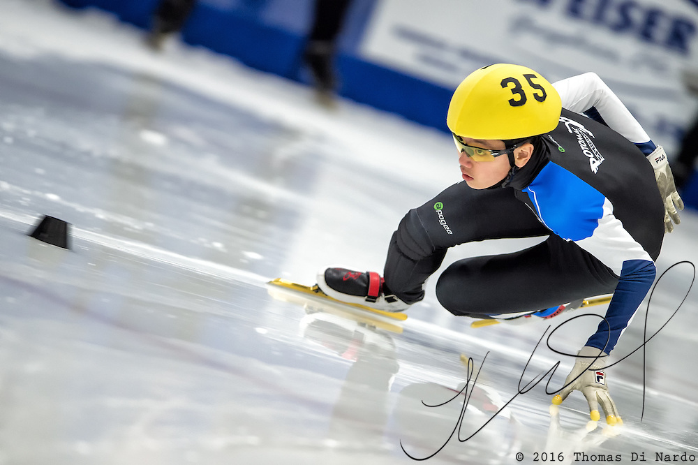 March 19, 2016 - Verona, WI - Brandon Kim, skater number 35 competes in US Speedskating Short Track Age Group Nationals and AmCup Final held at the Verona Ice Arena.