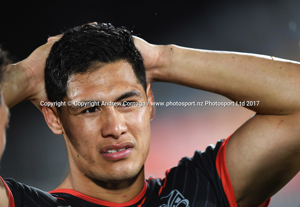 Roger Tuivasa-Sheck at the end of the match.<br /> Vodafone Warriors v  Canberra Raiders. NRL Rugby League. Mt Smart Stadium, Auckland, New Zealand. Sunday 13 August 2017 &copy; Copyright Photo: Andrew Cornaga / www.photosport.nz