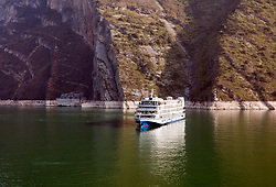 Cruise ship on the Yangtze River near the Three Gorges Dam, China.