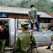 Kachin State. After urine test turn out 								 positive, K.I.A. officer immediately takes 								 the guilty ones to Laiza Rehab Center.