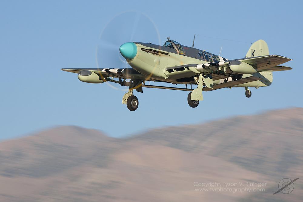 Eddie Kurdziel lands his Fairey Firefly AS.Mk 6 number WB518 at California's Tahoe-Truckee Airport.