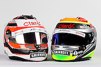 (L to R): The helmets of Nico Hulkenberg (GER) Sahara Force India F1 and Sergio Perez (MEX) Sahara Force India F1.<br /> Sahara Force India F1 Team Livery Reveal, Soumaya Museum, Mexico City, Mexico. Wednesday 21st January 2015.