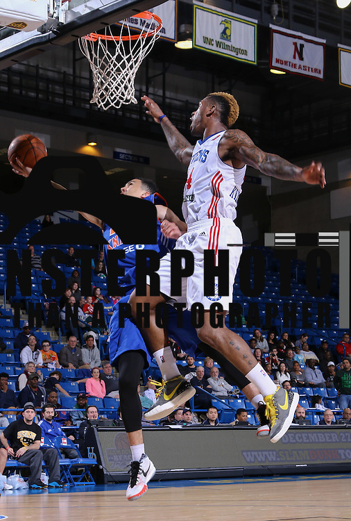 Westchester Knicks Guard TRAVIS TRICE II (20) drives towards the basket as Delaware 87ers Guard SEAN KILPATRICK (14) defends in the second half of a NBA D-league regular season basketball game between the Delaware 87ers and the Westchester Knicks  Saturday Dec, 26, 2015 at The Bob Carpenter Sports Convocation Center in Newark, DEL