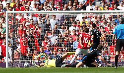 01.05.2011, Emirates Stadium, London, ENG, PL, Arsenal vs Manchester United, im Bild Arsenal's Aaron Ramsey  scores for Arsenal.Barclays Premier League.Arsenal v Manchester United.at Emirates Stadium, London on 01/05/2011, EXPA Pictures © 2011, PhotoCredit: EXPA/ IPS/ Kieran Galvin *** ATTENTION *** UK AND FRANCE OUT!