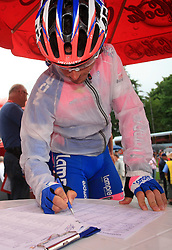 Paolo Bossoni of Italia (Lampre) signing the list before the start in 3rd stage of the 15th Tour de Slovenie from Skofja Loka to Krvavec (129,5 km), on June 13,2008, Slovenia. (Photo by Vid Ponikvar / Sportal Images)/ Sportida)
