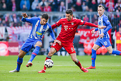 23.02.2019, Allianz Arena, Muenchen, GER, 1. FBL, FC Bayern Muenchen vs Hertha BSC, 23. Runde, im Bild v. li. im Zweikampf  Marko Grujic (Hertha BSC Berlin) und Robert Lewandowski (FC Bayern Muenchen) // during the German Bundesliga 23th round match between FC Bayern Muenchen and Hertha BSC at the Allianz Arena in Muenchen, Germany on 2019/02/23. EXPA Pictures © 2019, PhotoCredit: EXPA/ Eibner-Pressefoto/ Tom Weller<br /> <br /> *****ATTENTION - OUT of GER*****