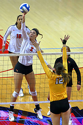 23 November 2017:  Jaelyn Keene strikes towards Taylor Graboski during a college women's volleyball match between the Valparaiso Crusaders and the Illinois State Redbirds in the Missouri Valley Conference Tournament at Redbird Arena in Normal IL (Photo by Alan Look)