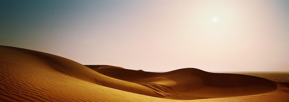 Negev desert sand dunes at dusk, Israel.