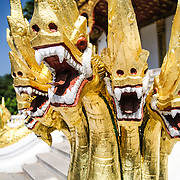 Fearsome looking naga guard Haw Pha Bang (or Palace Chapel) at the Royal Palace Museum in Luang Prabang, Laos. The chapel sits at the northeastern corner of the grounds. Construction started in 1963.