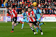 Lee Holmes (10) of Exeter City on the attack during the EFL Sky Bet League 2 match between Exeter City and Wycombe Wanderers at St James' Park, Exeter, England on 10 February 2018. Picture by Graham Hunt.