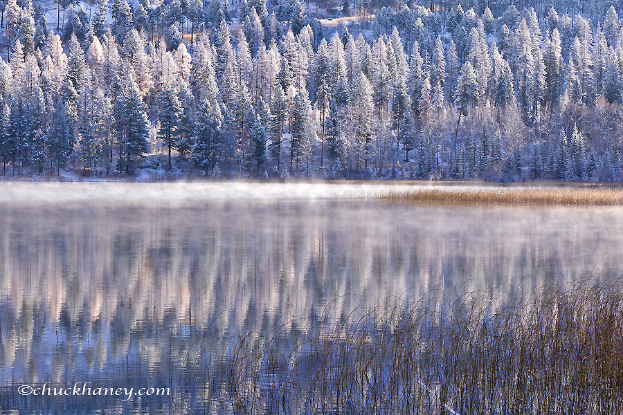 First significant snow of the year at Beaver Lake in the Stillwater State Forest near Whitefish, Montana, USA