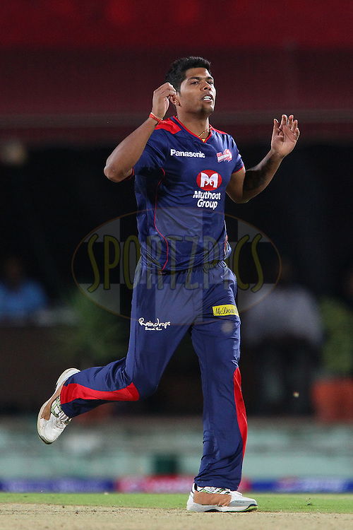 Umesh Yadav reacts after bowling during match 67 of the Pepsi Indian Premier League between The Kings XI Punjab and the Delhi Daredevils held at the HPCA Stadium in Dharamsala, Himachal Pradesh, India on the on the 16th May 2013..Photo by Ron Gaunt-IPL-SPORTZPICS ..Use of this image is subject to the terms and conditions as outlined by the BCCI. These terms can be found by following this link:..http://www.sportzpics.co.za/image/I0000SoRagM2cIEc