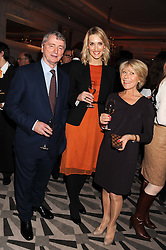 Left to right,  STEPHEN QUINN, CHRISTINA JESAITIS and GILLY MACKWOOD at the annual Veuve Clicquot Business Woman of the Year Award this year celebrating it's 40th year, held at Claridge's, Brook Street, London on 18th April 2012.