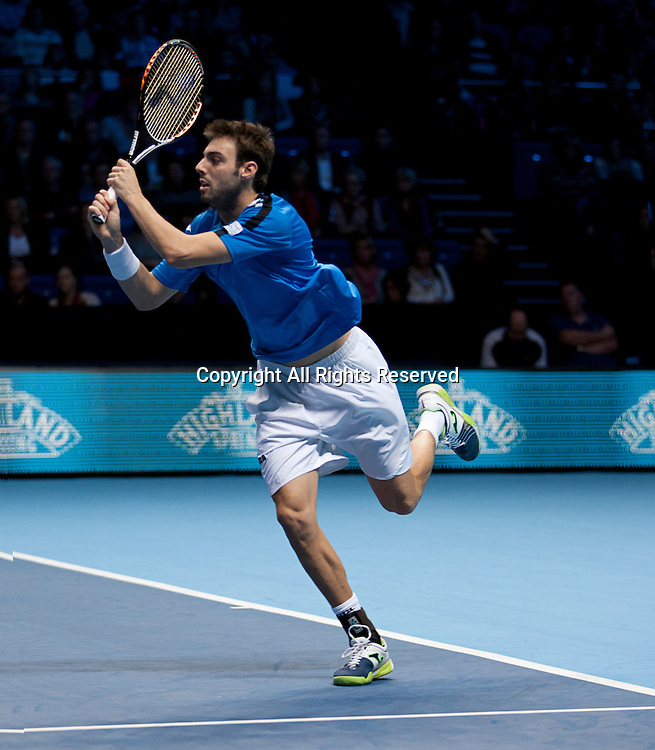 08.11.2012 London, England.  Marcel Granollers (ESP) in action against  Paes and Stepanek during the Barclays ATP World Tour Finals from the 02 Arena.