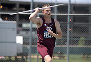 May 24, 2019; Sacramento, CA, USA; Sam Hardin of Texas &M places 10th in the javelin at 221-10 (67.62m) during the NCAA West Preliminary at Hornet Stadium.