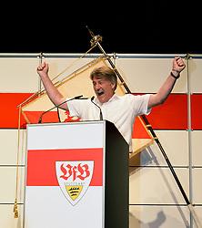 22.07.2013, Porsche-Arena, Stuttgart, GER, 1. FBL, VfB Stuttgart Mitgliederversammlung, im Bild Bernd WAHLER VfB Stuttgart ist neuer Präsident Jubel jubelt nach überwältigender Mehrheit quadrat quadratisch, ,  // during General Assembly of German Bundesliga Club VfB Stuttgart at the Porsche-Arena, Stuttgart, Germany on 2013/07/22. EXPA Pictures © 2013, PhotoCredit: EXPA/ Eibner/ Michael Weber<br /> <br /> ***** ATTENTION - OUT OF GER *****
