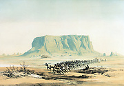 View of Mount Barkal', 1842-1845. Lithograph after Karl Richard Lepsius (1810-1884) Prussian Egyptologist.  Team of natives pulling sledge containing artefact from Egyptian ruins at Nepata.  Ancient Egypt Sudan Archaeology