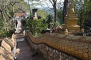 Luang Prabang, Laos. Buddhist stauary on Phousi Hill in the center of Luang Prabang.