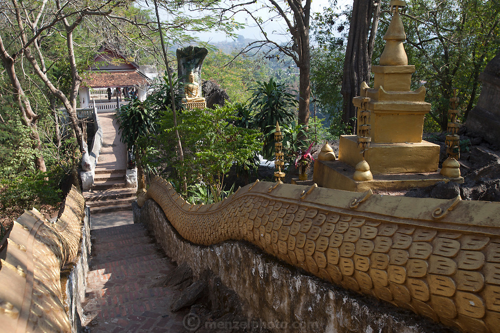 Luang Prabang, Laos. Buddhist stauary on Phousi Hill in the center of Luang Prabang.