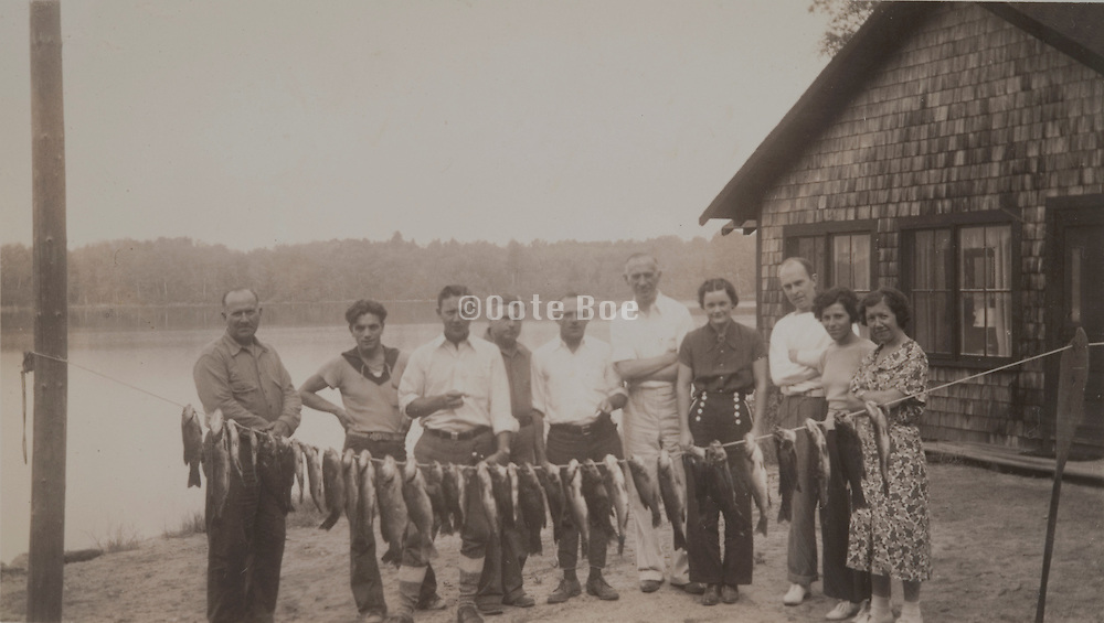 group photo of friends during a fishing trip America 1937