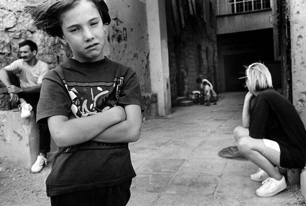 """Children showing signs of trauma after the brutal Muslim Croat War.  It was destroyed by systemic bombardment from Croat guns during the Croat Muslim War, when the Croats endeavored to """" cleanse"""" the town of non Croats."""
