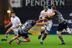 Clermont Auvergne's Sebastien Vahaamahina is tackled by Ospreys' Bradley Davies - Mandatory by-line: Craig Thomas/JMP - 15/10/2017 - RUGBY - Liberty Stadium - Swansea, Wales - Ospreys Rugby v Clermont Auvergne - European Rugby Champions Cup